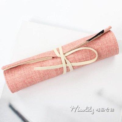 簡約女生小清新可愛文具創意綁帶筆簾捲筆袋大容量學生用筆袋