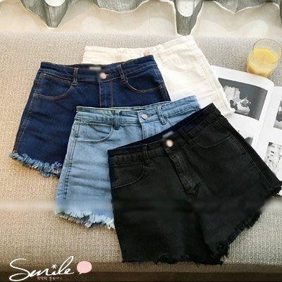 【V0073】SMILE-簡著實搭.時尚修身高腰毛邊牛仔短褲