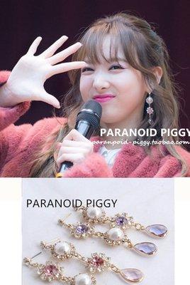 韓國Baby~PP飾品-韓團twice娜璉日常百搭 少女粉紫鉆925銀針耳墜/耳夾