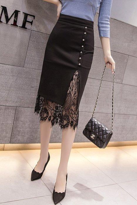 ~Linda~新款韓版時尚單排扣開叉蕾絲拼接裝飾包臀魚尾裙性感修身百搭半身