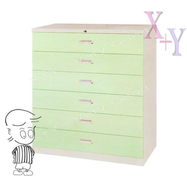 【X+Y時尚精品傢俱】綠色 106 六層式小抽屜鋼製公文櫃.理想櫃適合學校. 公司.台南市家具