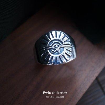 荷魯斯之眼925純銀戒指(埃及文字/眼睛/金字塔)(T-R331)(現貨)【Ewin 創物】21.5