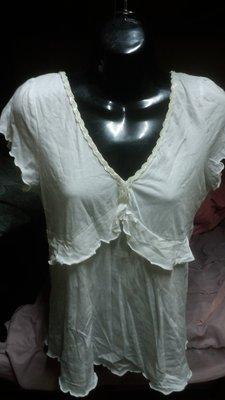 米白色繡珠V領短袖上衣