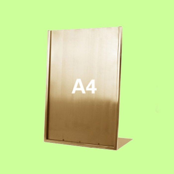 5Cgo【含稅】L型廣告牌黑拉絲金A4桌牌不鏽鋼價格牌專櫃台牌A3海報架子POP展示架含亞克力板16209415507