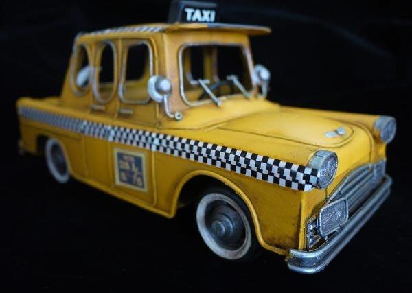 復古鐵皮黃色計程車 美國taxi 收藏 擺飾 家飾 陳列展示[布拉格家居]