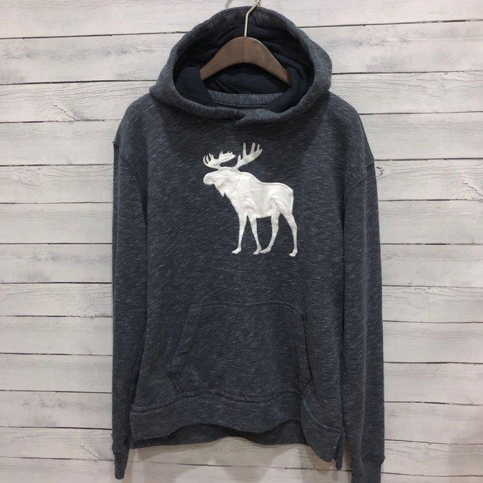 Maple麋鹿小舖 abercrombie&fitch * a&f 男童款藍色大麋鹿連帽長T*( 現貨15/16號 )