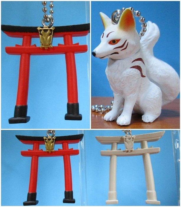 【動漫瘋】 現貨  日版 轉蛋 日本神社 和狐 系列 吊飾 公仔 狐面具 鳥居2種+和狐 共3個販售