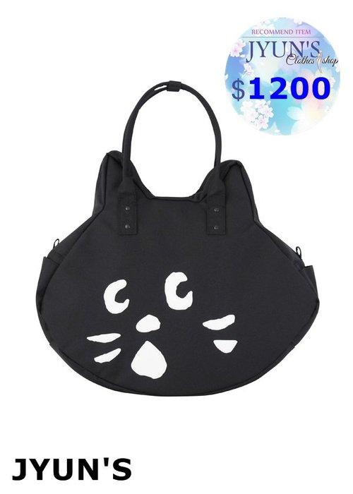 JYUN'S 新款日單 NE-NET 驚訝貓咪大臉拉鍊手提包手拎包單肩包肩背包 1款 預購