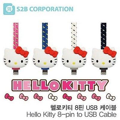 TOUCH-KR Hello Kitty 防斷裂織布扁線 蘋果認證 Apple 8 pin 充電線 傳輸線│i4285