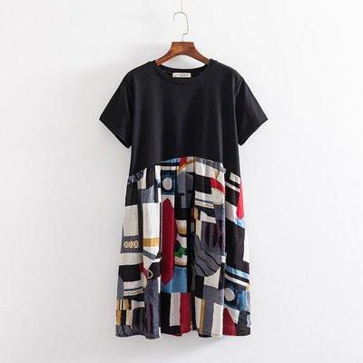 【玫瑰皇后】  韓版-大碼女裝2019夏裝新款2色寬鬆中長款拼接棉麻短袖連衣裙92080  紅