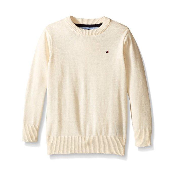 美國百分百【全新真品】Tommy Hilfiger 素面 圓領 針織衫 TH 棉質 線衫 毛衣 米白 S號 H303