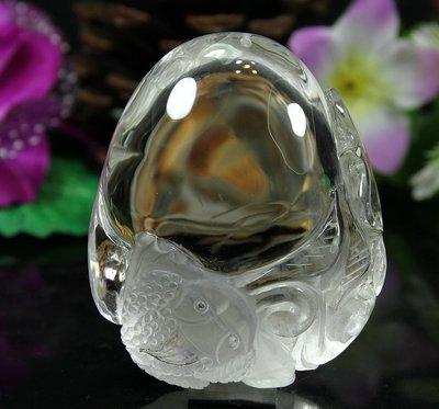 孟宸水晶 = A9081 (咬財金蟾100%天然白水晶雕刻把玩件236克)