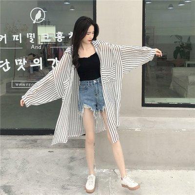 夏季女装新款韩版宽松中长款条纹衬衫上衣学生长袖透视防晒衣衬衣