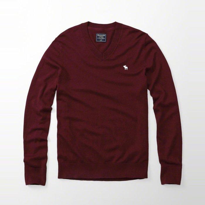 美國百分百【Abercrombie & Fitch】針織衫 AF 毛衣 麋鹿 V領 羊毛 線衫 酒紅 S M號 H401