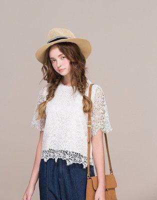 ~PAZZO~滿版精緻簍空花朵布蕾絲短袖上衣