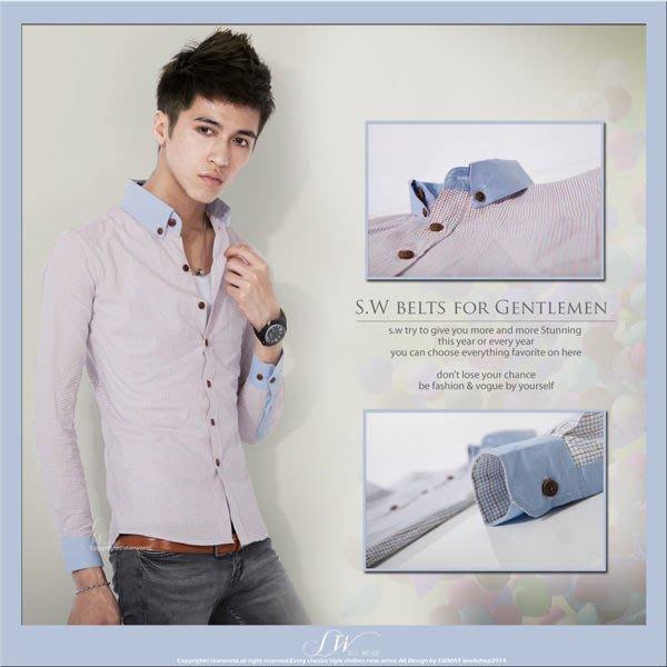 。SW。【K61194】韓 雅痞時裝 細緻 窄身Slim 木扣 水藍立領 混線小方格 輕長袖格襯 都會