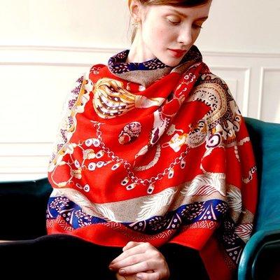 羊毛披肩 長 圍巾-民族風印花橘紅毛邊女配件73wq19[獨家進口][米蘭精品]
