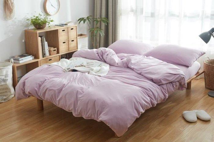 純棉親膚裸睡專用床包組(薰衣草紫) 床包 床單 枕頭套 枕頭 床 棉被 被套 寢具 裸睡 純棉 床包組 拖鞋 室內拖鞋