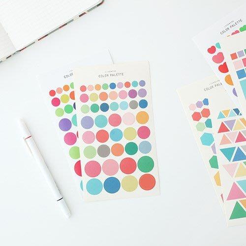 ❅PAVEE❅ 韓國livework~Color Palette Sticker 手帳包裝 色彩裝飾貼紙組(2張)