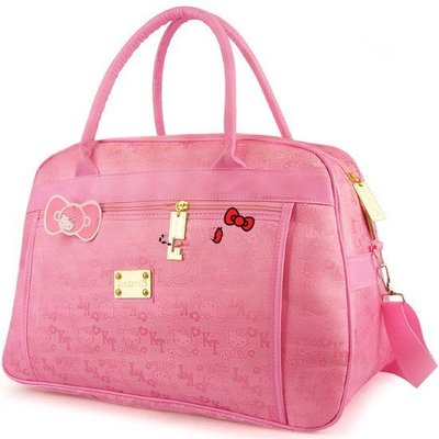 Hello Kitty旅行袋超大型手提包粉色倆用旅行包可斜跨行李袋可愛