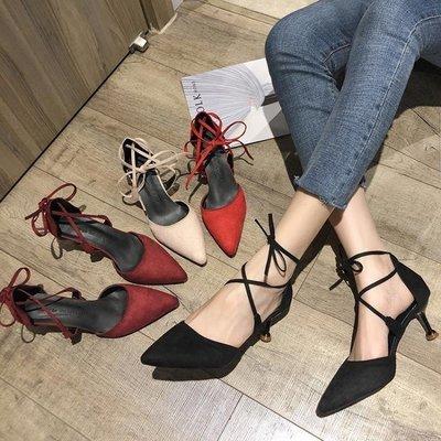 ZIHOPE 涼鞋女夏新款韓版百搭網紅尖頭綁帶細跟包頭仙女風高跟鞋ZI812