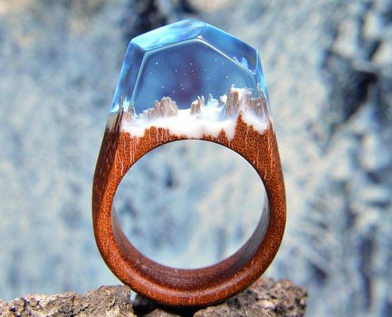 樹脂木戒指山峰形叁號雪山晶瑩寶藍色