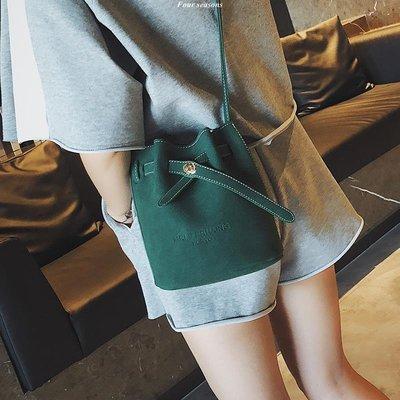 小包包少女2018新款正韓潮時尚百搭斜跨水桶包 單肩斜挎包斜背包