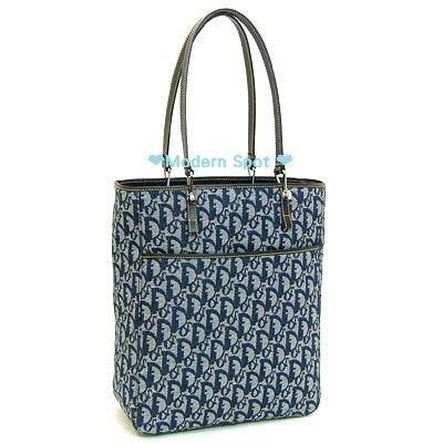 【Christian Dior迪奧換季特賣會】❤全新真品❤㊣CD藍色丹寧布購物包/托特包44109生日情人禮