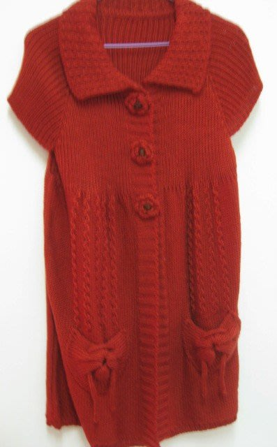 紅色長版針織衣