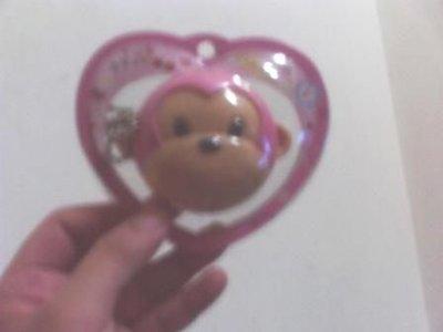 全新粉紅猴大臉吊飾