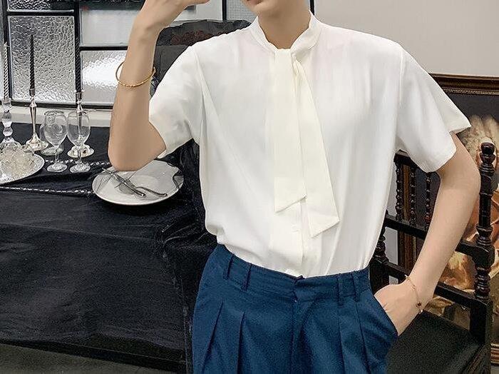 FINDSENSE 品牌 2019 春季 新款 寬鬆 顯瘦  潮流 領結 社會 男青年  短袖  免燙 襯衫 復古 氣質