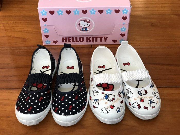 發現花園 日本選物 ~日本製 幼稚園 室內鞋 帆布鞋~深藍 Kitty / 白色 Kitty