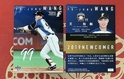 火腿鬥士隊- 王柏融 (19BBM火腿隊卡, NEW COMER, NO.F70) RC新人卡