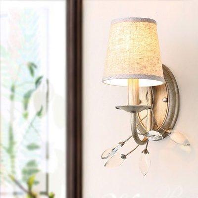5Cgo【燈藝師】含稅會員有優惠524165868081 新古典美式壁燈鄉村水晶臥室客廳歐式復古簡約單頭燈具--單頭