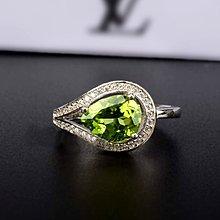 ((瑪奇亞朵的珠寶世界))超美豪華水滴款 天然A級橄欖石鑲崁 戒指 送禮好用大器 精緻