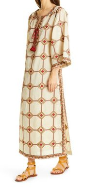 Embroidered Caftan Dress TORY BURCH