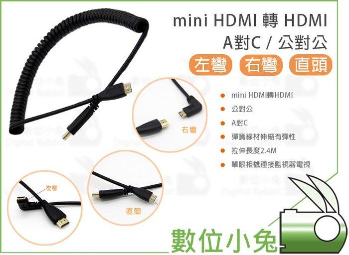 數位小兔【mini HDMI 轉 HDMI 公對公 QQ線】轉接線 伸縮 左彎 右彎 傳輸線 A對C 最長2.4米 直頭