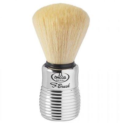 義大利 S10081 OMEGA 刮鬍刷 S-brush系列 合成纖維刷毛 金屬銀色握柄