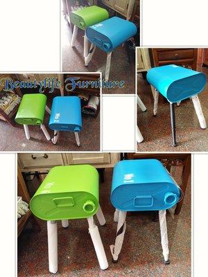 美生活館 --全新美式鄉村復古工業風LOFT 鐵製汽油桶造型 餐椅/鐵椅/休閒椅/穿鞋椅/戶外拍照道具-蘋果綠