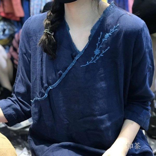 【如茶】設計師品牌優質水洗亞麻手工盤扣繡花長衫連身裙