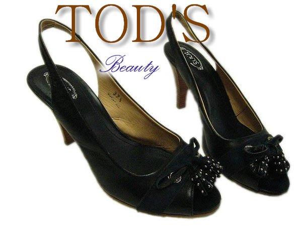 *Beauty*TOD'S深藍色蝴蝶結魚口高跟涼鞋 37.5號  穿過一次