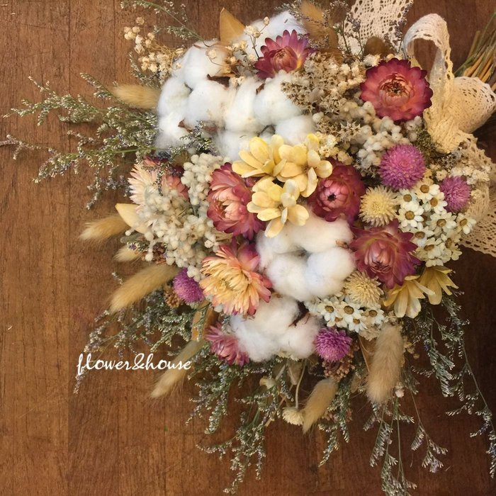 D24。粉色系棉花乾燥花捧花。拍照捧花。客製新娘捧花。台北自取【Flower&House花藝之家】