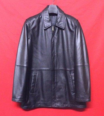 【全面優惠價】日本品牌GENEROUS  頂級高檔柔軟羊皮簡約素面百褡紳士短大衣 真皮