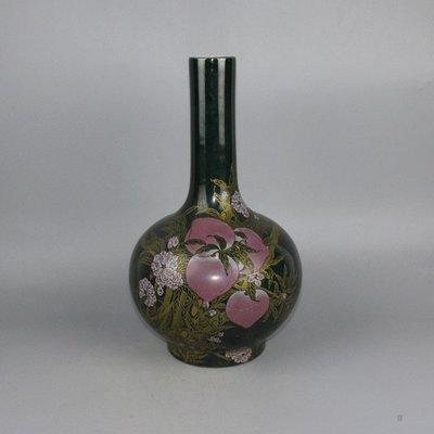 ㊣三顧茅廬㊣ 清單色釉壽桃膽瓶雙圈青花康熙款釉上彩古玩古董收藏