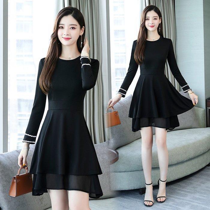 [C.M平價精品館]新品特價L~5XL/收腰顯瘦性感雙層薄紗裙襬小圓領黑色長袖洋裝  加大碼