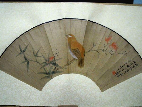陳半丁.花鳥紙本設色扇面鏡片-法利堂-直購價189000元.保證真品
