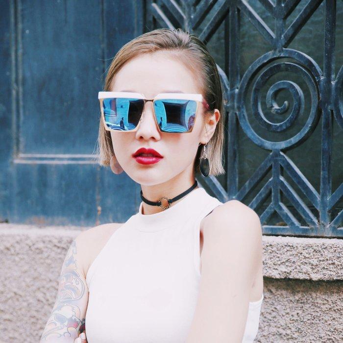 個性前衛大框方形太陽眼鏡女圓臉復古潮款男女墨鏡開車太陽鏡