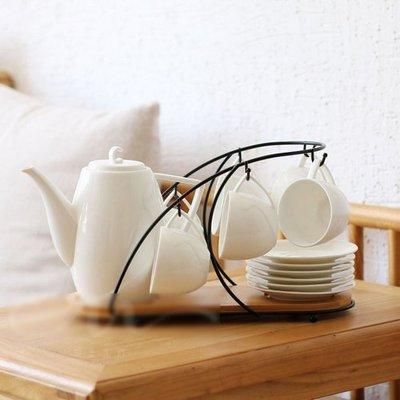北歐現代簡約茶杯套裝 白色茶具套裝創意家居茶具陶瓷茶壺套裝配杯架碟(套裝14件組)_☆找好物FINDGOODS☆