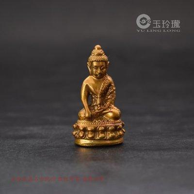 黃銅鎏金泰國佛像藥師佛小擺件口袋袖珍佛古玩雜項銅佛手把件銅件