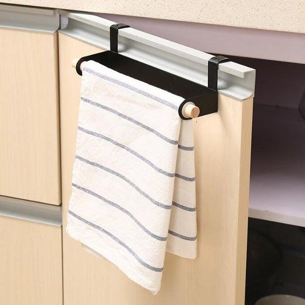 《Jami Honey》【JH1243】廚房抹布紙巾木頭桿門背掛式鐵架